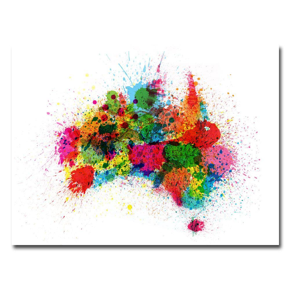 null 18 in. x 24 in. Australia Paint Splashes Canvas Art