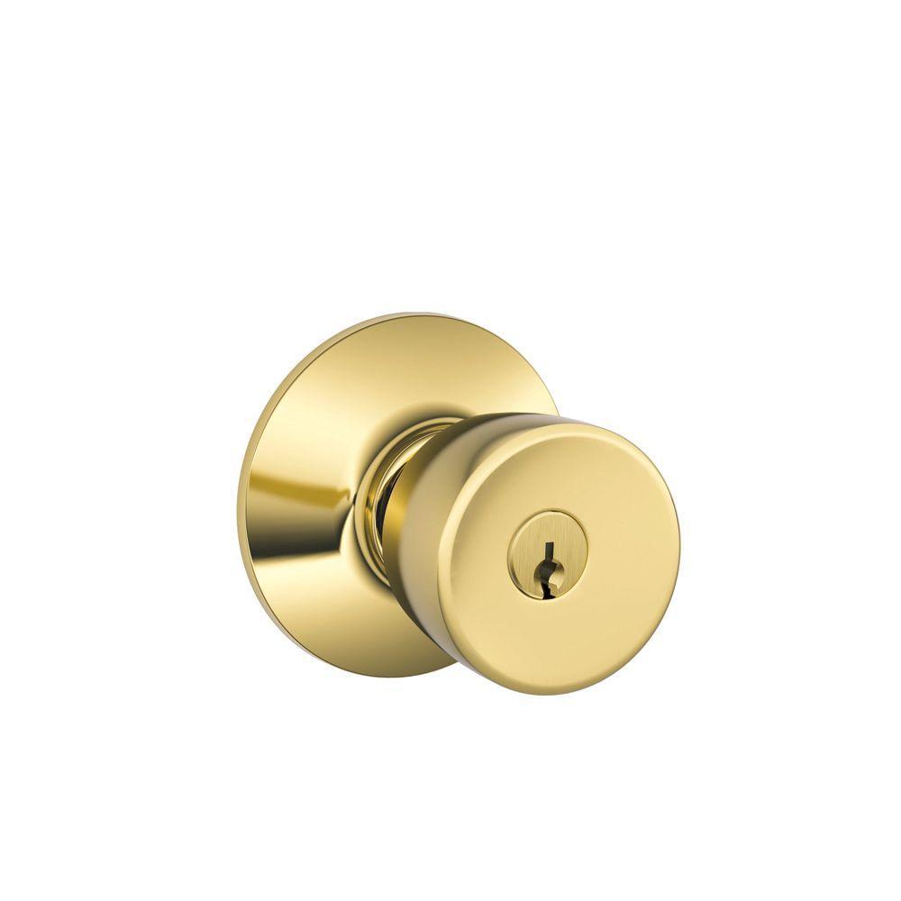 Schlage Bell Bright Brass Keyed Entry Knob