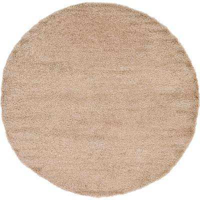 Solid Shag Taupe 8 ft. Round Area Rug