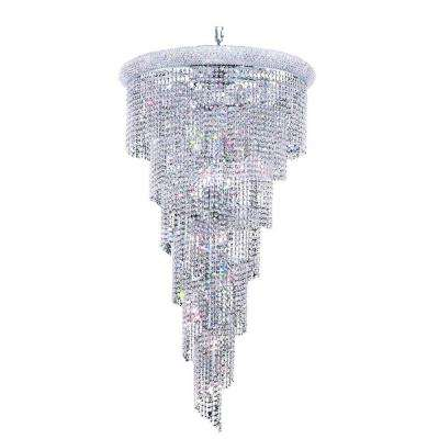 22-Light Chrome Chandelier with Clear Crystal
