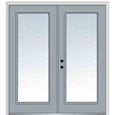 60 in. x 80 in. Classic Right-Hand Inswing Full Lite Clear Painted Fiberglass Smooth Prehung Front Door with Brickmould