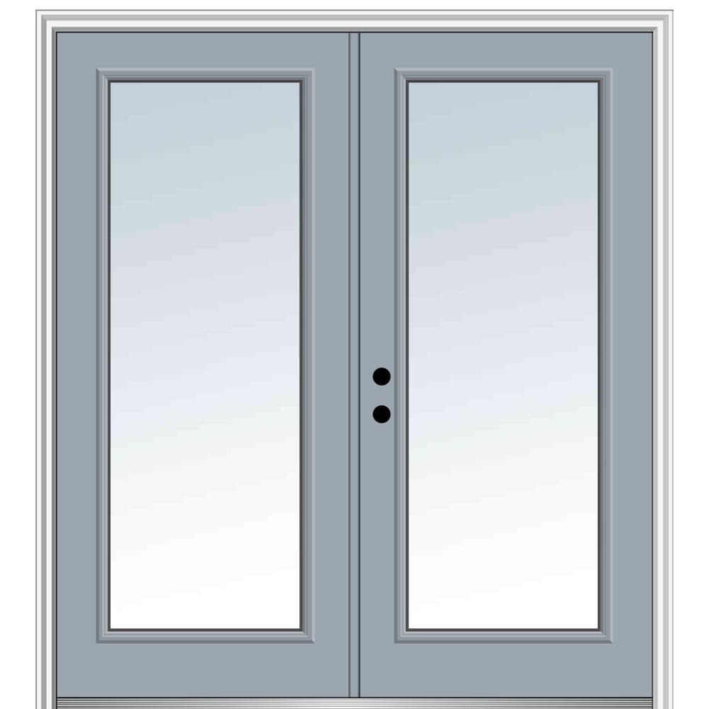 MMI Door 72 in. x 80 in. Classic Right-Hand Inswing Full Lite Clear Glass Painted Steel Prehung Front Door with Brickmould