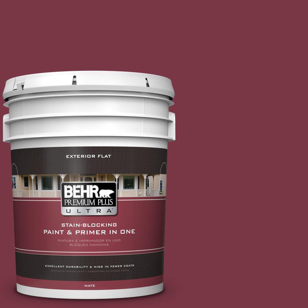 BEHR Premium Plus Ultra 5-gal. #S-H-110 Wine Tasting Flat Exterior Paint, Reds/Pinks