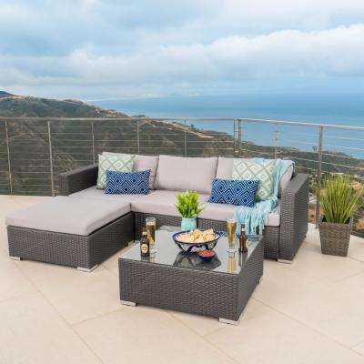 Santa Rosa Grey 5-Piece Wicker Outdoor Sectional Set with Silver Gray Cushions