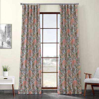 Garden Party Sky Blue Printed Linen Textured Blackout Curtain - 50 in. W x 120 in. L (1-Panel)