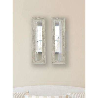 11.5 in. x 29.5 in. White Washed Antique Vanity Mirror (Set of 2-Panels)