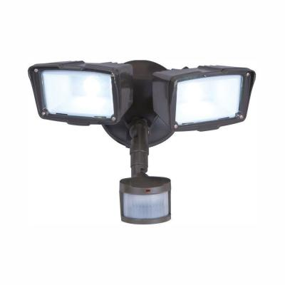 180-Degree Bronze Motion Activated Sensor Twin-Head Outdoor Integrated LED Security Flood Light