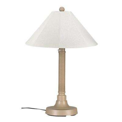 Bahama Weave 34 in. Mojavi Outdoor Table Lamp with Natural Linen Shade