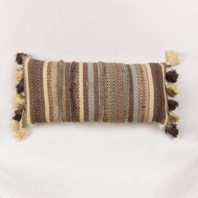 Handwoven stripe pillow in shades of grey