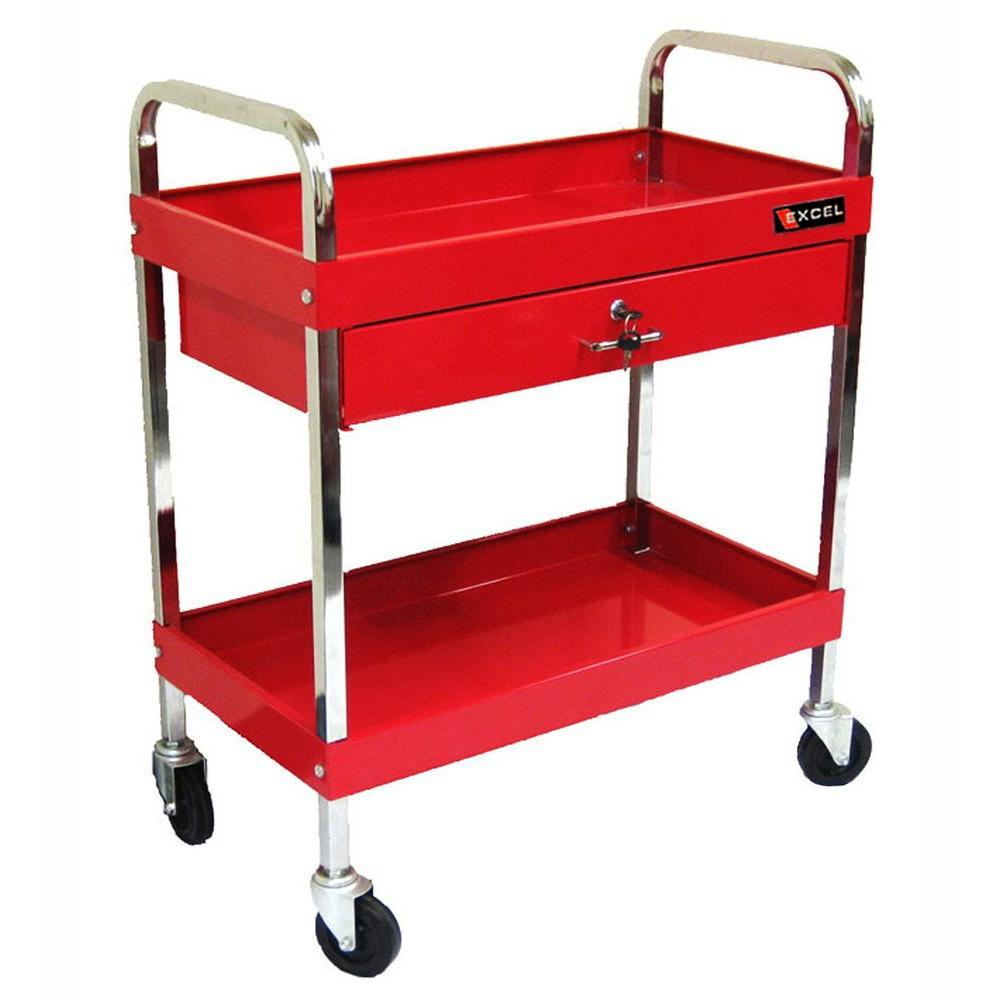 30 in. 1-Drawer Steel Tool Cart in Red