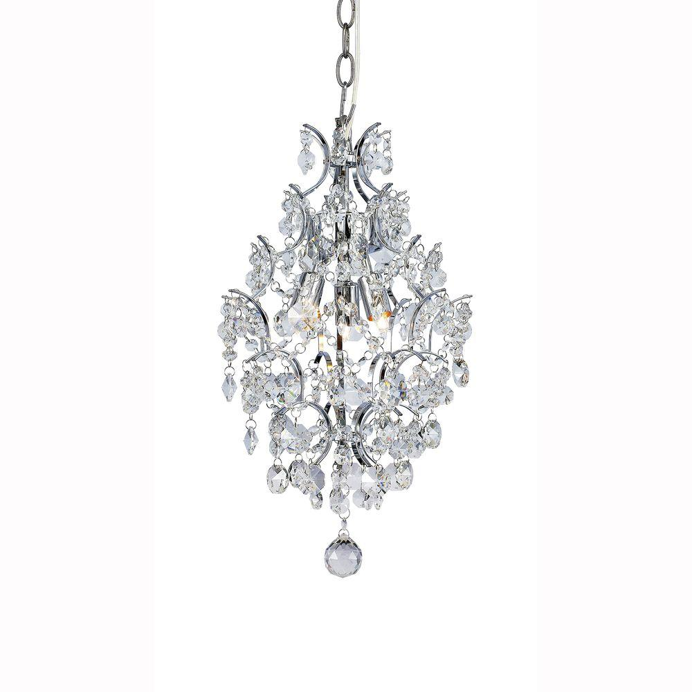 3 Light Chrome Crystal Branches Pendant