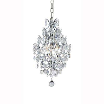 3-Light Chrome Branches Pendant with Crystals