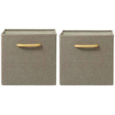 Collapsible Grey Bins with Handles (Set of 2)