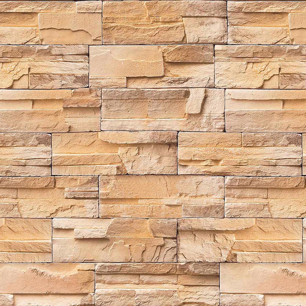 Madrid Bronze Brick Stone Peel and Stick 3D Effect Self Adhesive DIY Wallpaper Sample