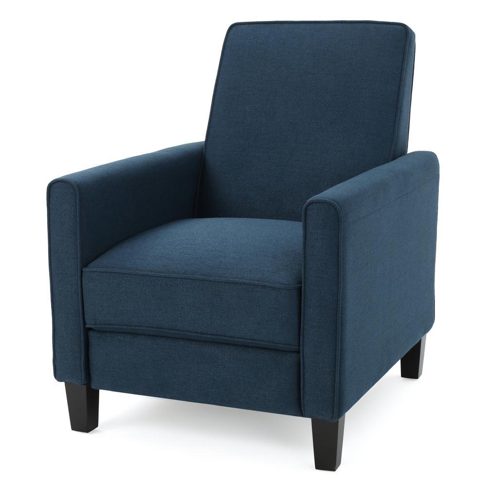 Darvis Dark Blue Fabric Recliner Club Chair