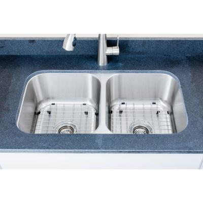 The Chefs Series Undermount 33 in. Stainless Steel 50/50 Double Bowl Kitchen Sink Package