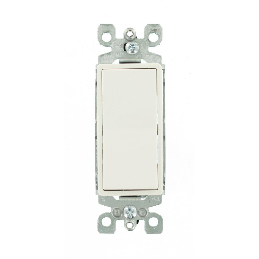 Leviton 15-Amp 120/277-Volt Decora 1-Pole Residential Grade Ac Quiet  Illuminated Rocker Switch, White