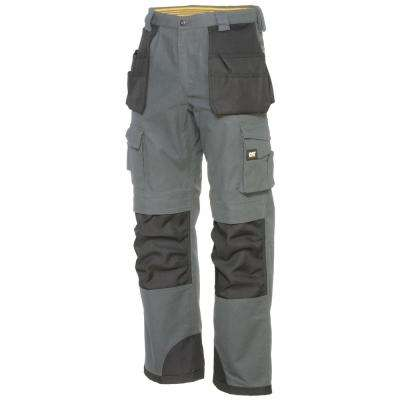 Men's 32 in. W x 30 in. L Grey/Black Cotton/Polyester Canvas Heavy Duty Cargo Work Pant