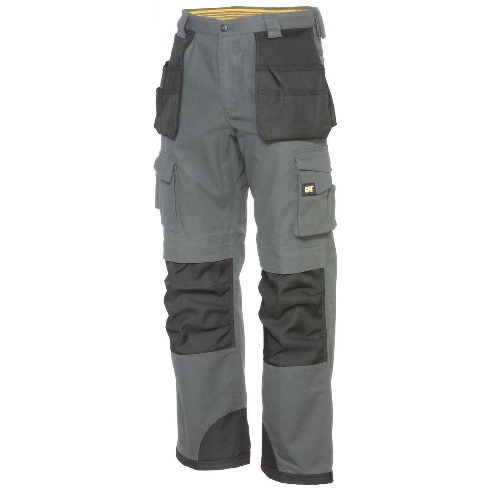 8e2b147b40 L Grey/Black Cotton/Polyester Canvas Heavy Duty Cargo Work Pant