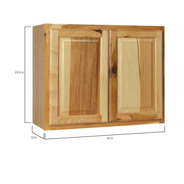 Hampton Bay Hampton Assembled 30x23 5x12 In Wall Bridge Kitchen Cabinet In Natural Hickory Kw3024 Nhk The Home Depot