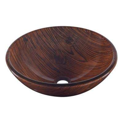 Boschetto Glass Vessel Sink in Wood Grain