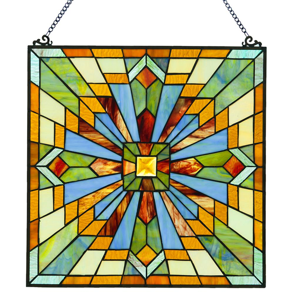 River of goods multi colored stained glass mission style for Coloured glass panels