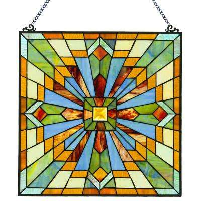 Multi-Colored Stained Glass Mission Style Clouds in the Sky Window Panel