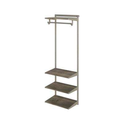 Closet Culture 16 in. D x 24 in. W x 78 in. H Steel Closet System with 4 Driftwood Wood Shelves