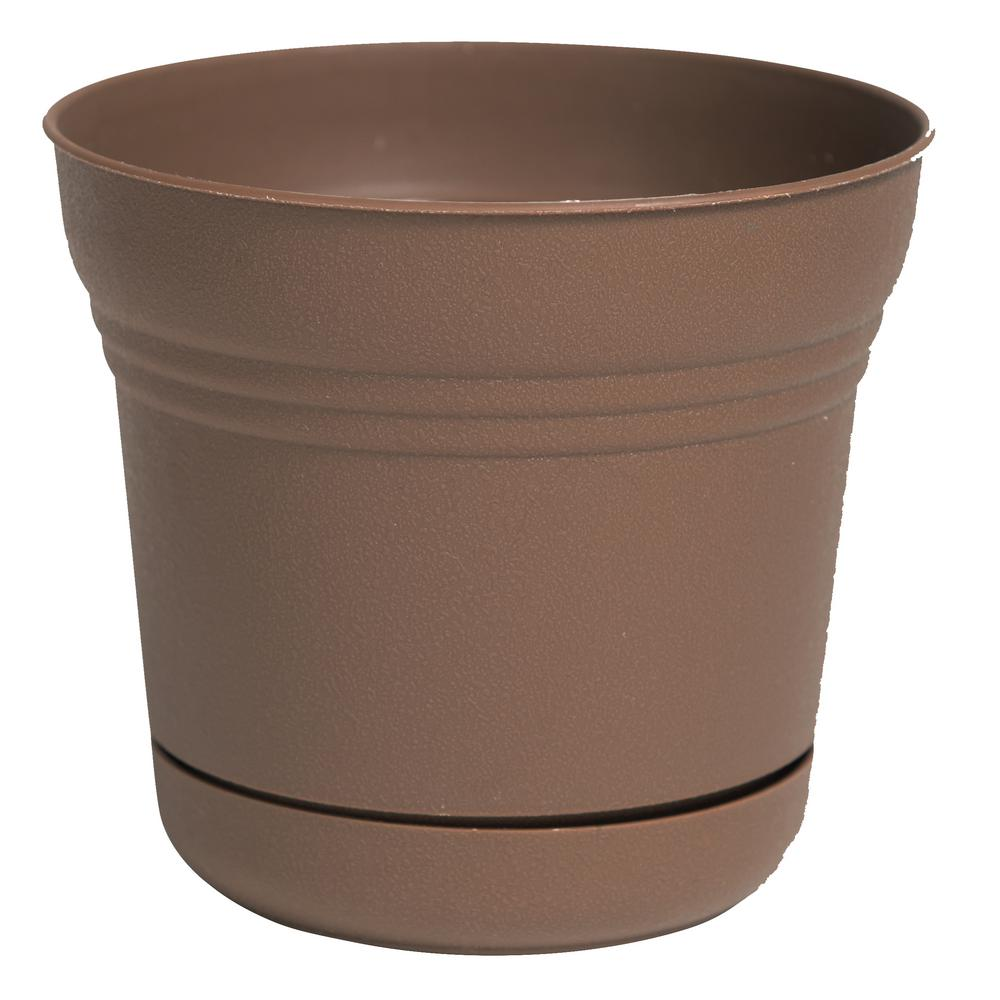 Saturn 12 in. Chocolate Plastic Planter