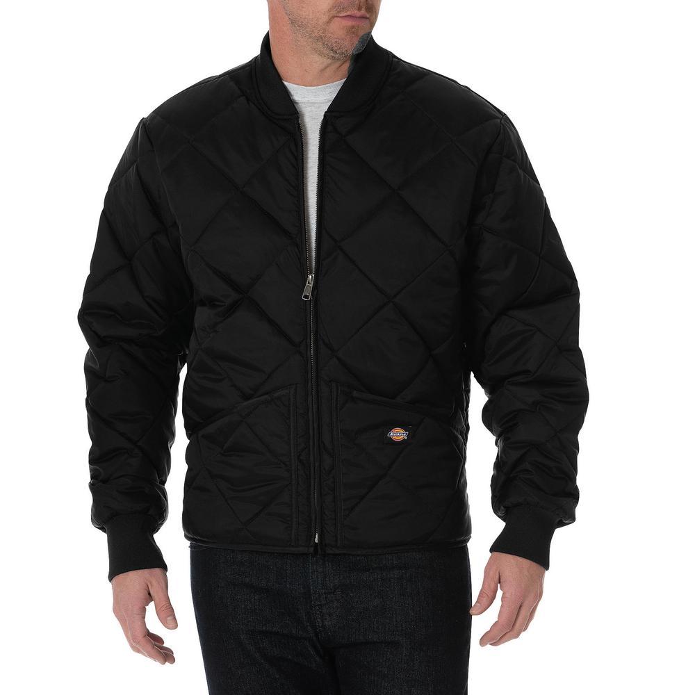 Diamond Quilted Men's Small Black Nylon Jacket