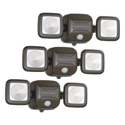 Wireless 140-Degree Bronze Motion Sensing Outdoor Integrated LED Security Flood Light (3-Pack)