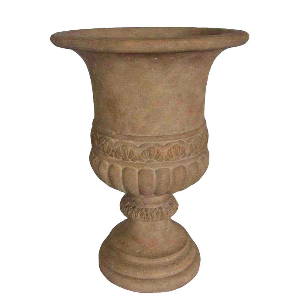21.25 in. H Ivory Scroll Band Stone Urn