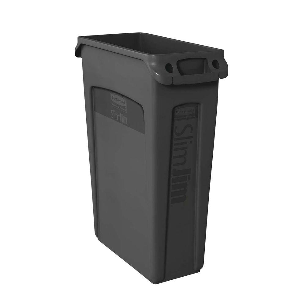 Slim Jim 23 Gal. Black Vented Trash Can