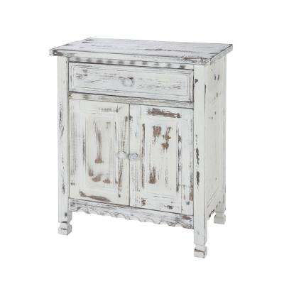 Country Cottage White Antique Accent Cabinet