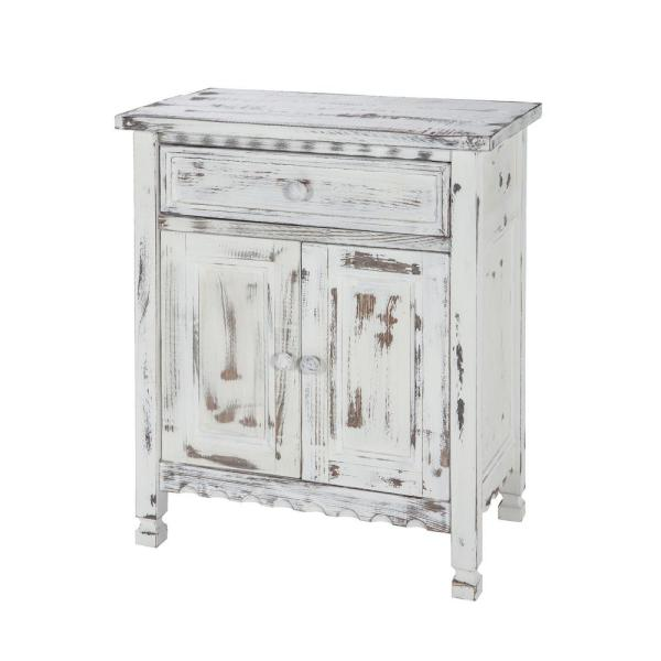 Alaterre Furniture Country Cottage White Antique Accent Cabinet