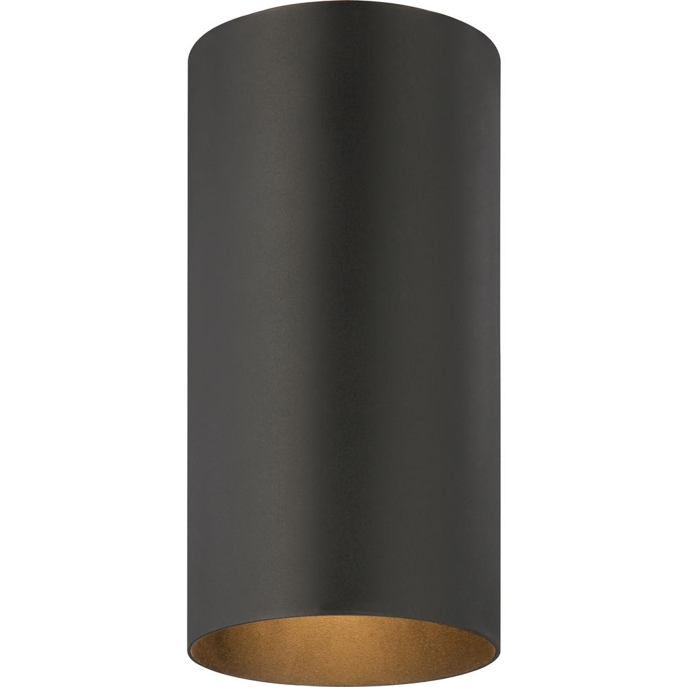 Black 1-Light Aluminum Outdoor Flush Mount Cylinder Ceiling Fixture