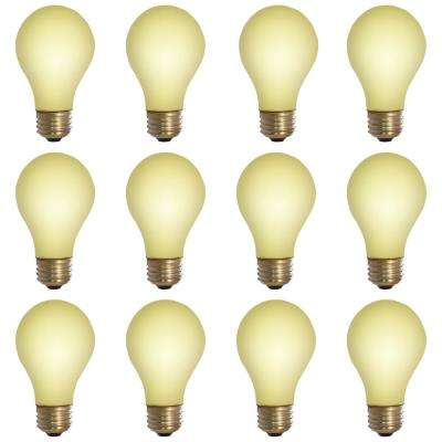 100-Watt A19 Yellow Bug Dimmable Incandescent Light Bulb (12-Pack)