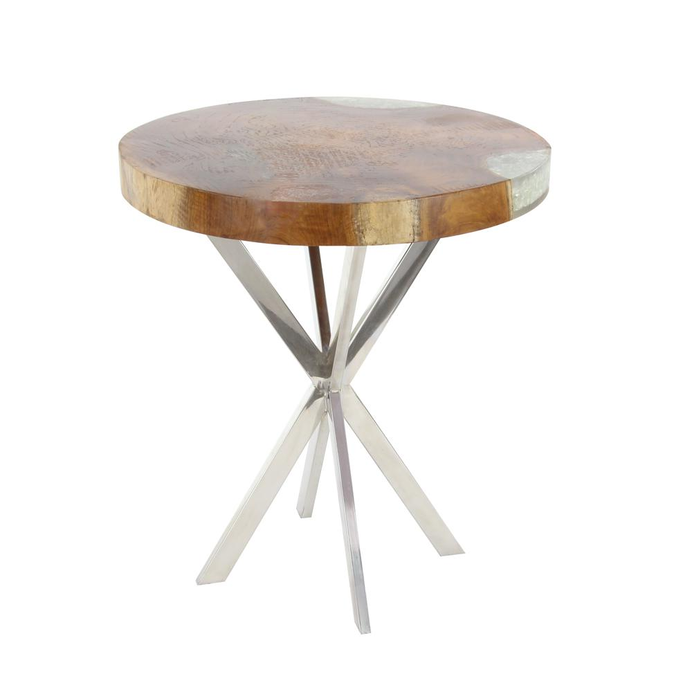 Modern Teak Wood And Stainless Steel Round Side Table