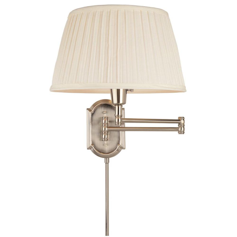 Hampton Bay 1 Light Brushed Nickel Swing Arm Wall Lamp With White Pleated Fabric Shade HBP604 35