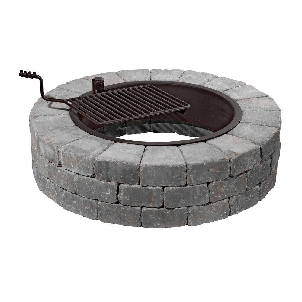 Fire Pit Kit in Bluestone with Cooking Grate - Necessories Grand 48 In. Fire Pit Kit In Bluestone With Cooking Grate