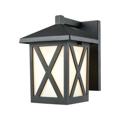 Lawton 1-Light Matte Black with White Glass Outdoor Wall Mount Sconce