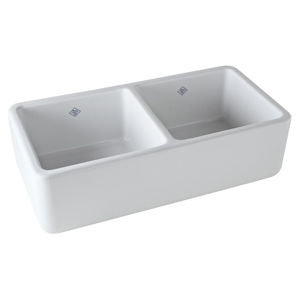 Rohl Lancaster Farmhouse/Apron-Front Fireclay 37 in. Double Bowl ...