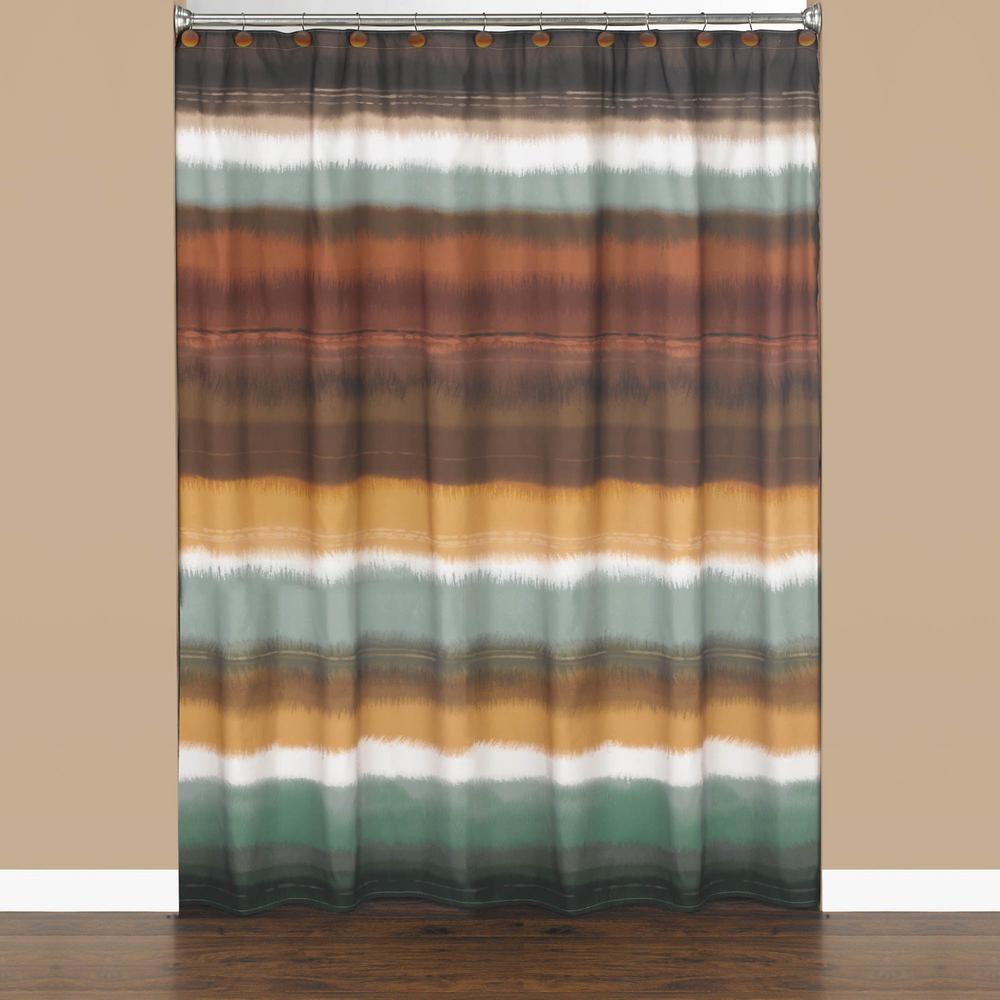 Saturday Knight Jessen Stripe 72 In. Earthtones Polyester Shower Curtain