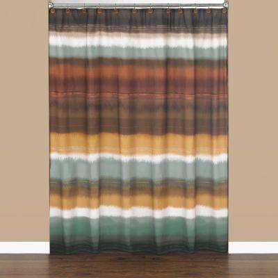 Jessen Stripe 72 in. Earthtones Polyester Shower Curtain