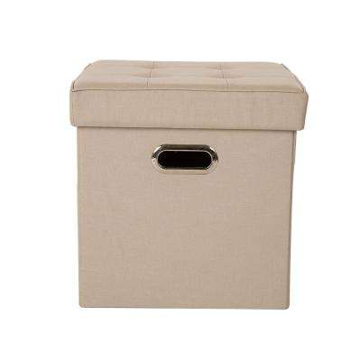 15 in. H Cream Cube Linen Foldable Storage Ottoman with Padded Seat
