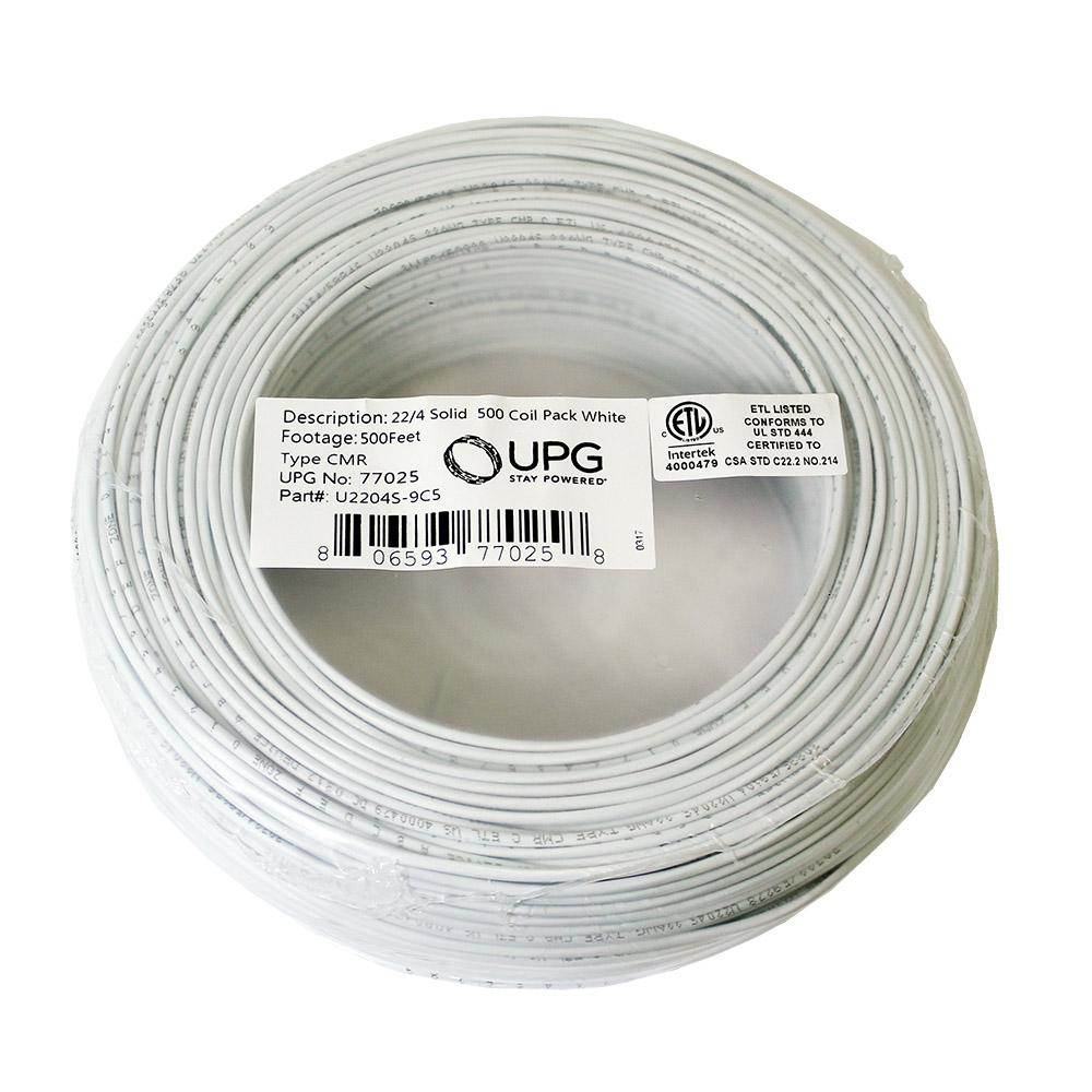 UPG 500 ft. Coil Pack of 22-Gauge 4-Conductor White Alarm Cable ...