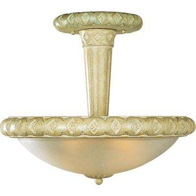 Alexandria Collection 3-Light Ceiling Golden Coral Semi-Flush Mount