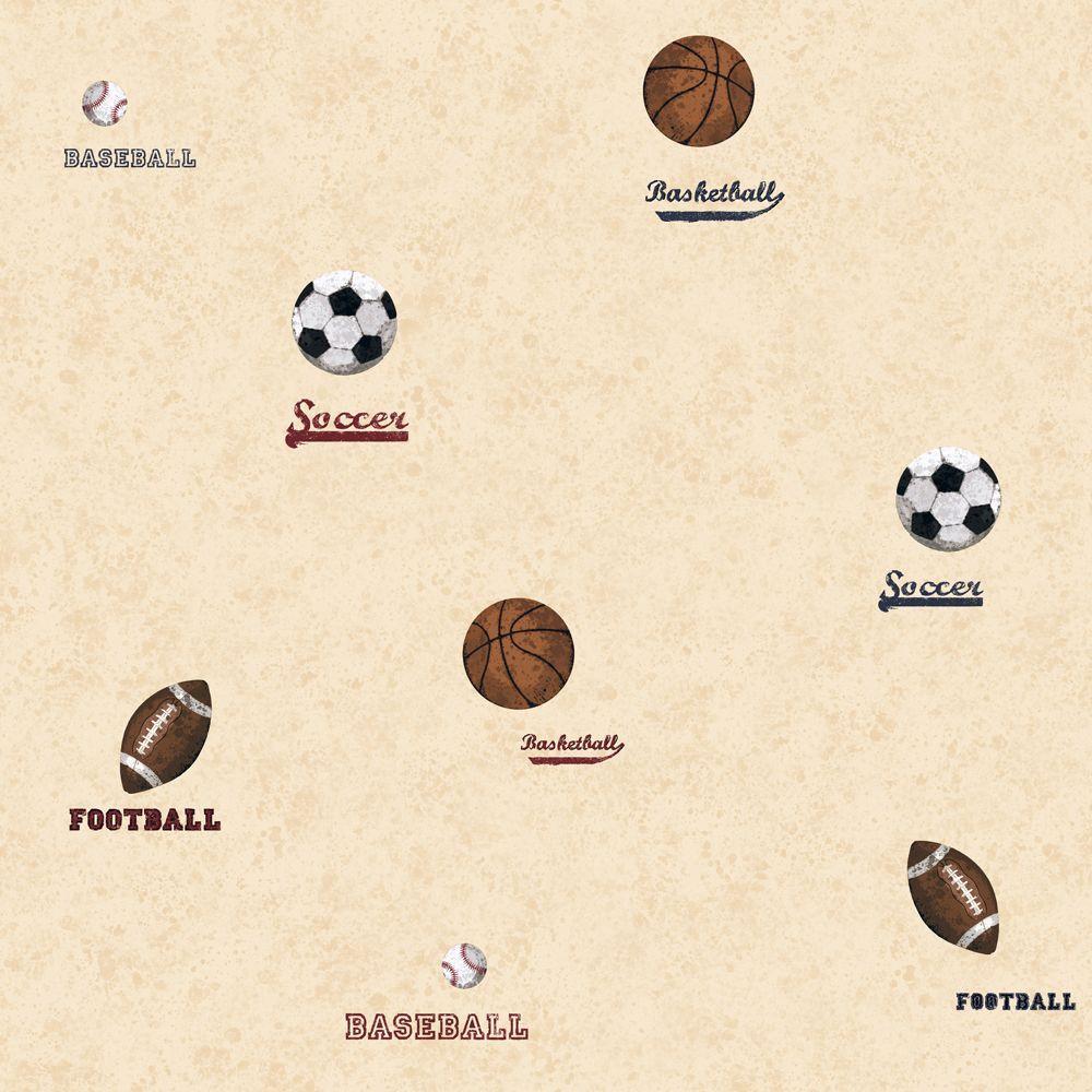 York Wallcoverings 56 Sq. Ft. Sports Ball Spot Wallpaper-DISCONTINUED
