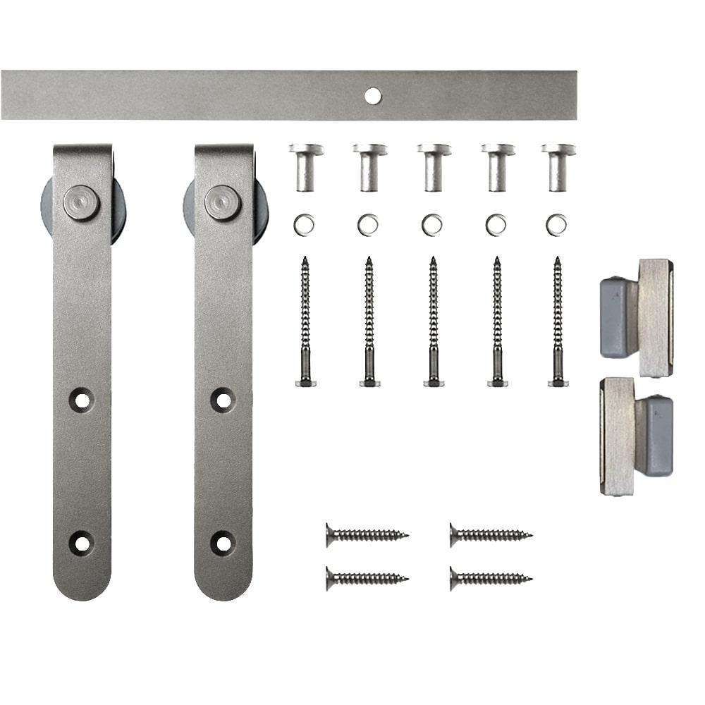 6 ft. Satin Nickel Round Hook Mini Sliding Barn Door Hardware Kit for Single Furniture Wood Doors