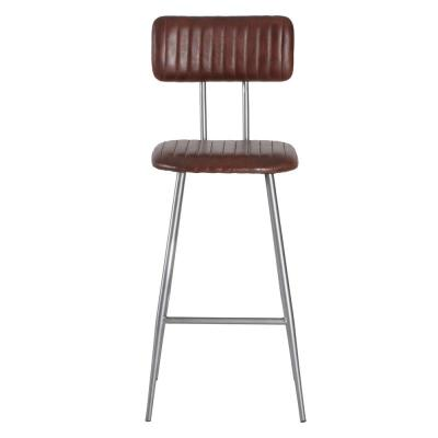 Mansfield 43 in. Brown Genuine Leather Bar Stool